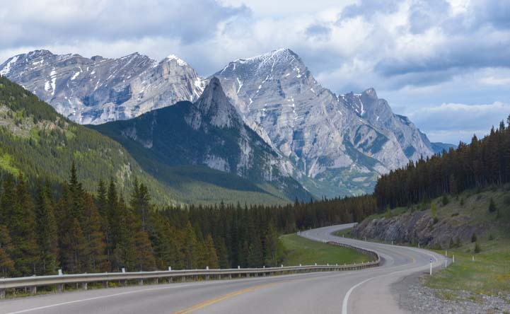 Road in Kananaskis Country RV travel Canada Rocky Mountains