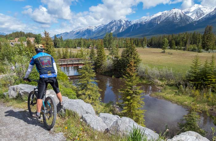 Mountain view on bike path Canmore Alberta Canada