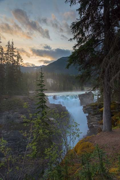 Sunrise Athabasca Falls Jasper National Park Alberta Canada Rocky Mountains