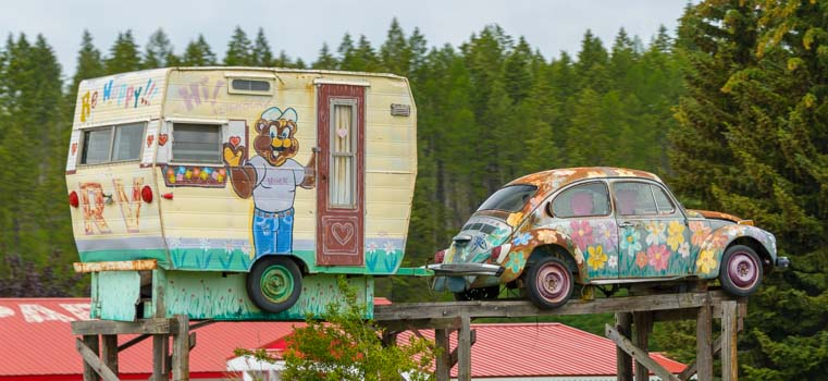 Volkswagen Beetle Towing a Trailer RV Whitefish Montana