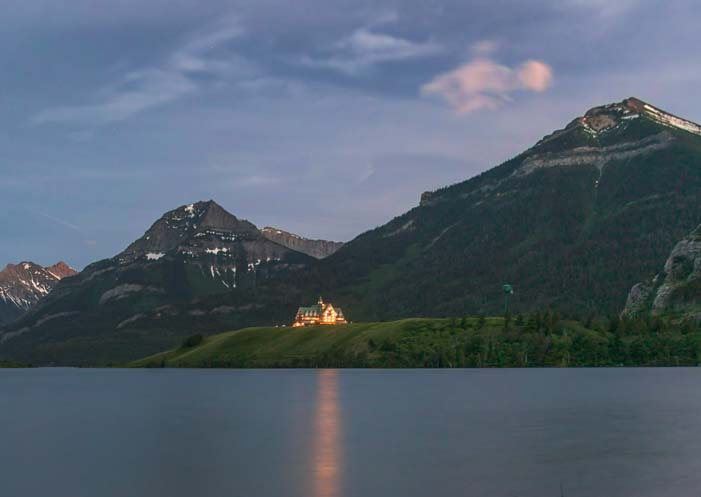Prince of Wales Hotel at night Waterton Lakes National Park Canada