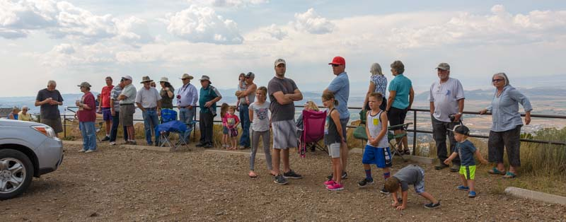 People wait for the rehabilitated eagle release by Southwest Wildlife Foundation in Cedar City Utah