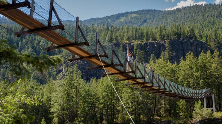 Swinging bridge at Kootenai Falls Montana