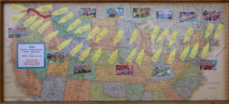 PAC Tour cross-country bicycle tour route for 2016