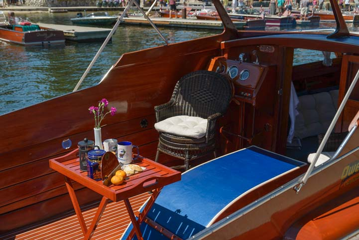Cockpit of classic wooden boat Payette Lake McCall Idaho