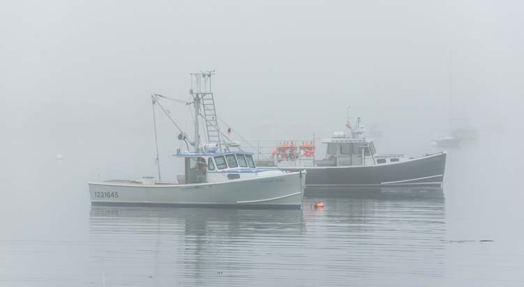 Lobser boats in the Maine fog