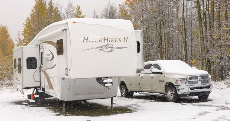 RV in snow in winter