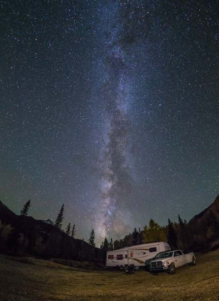 Milky Way and fifth wheel trailer RV