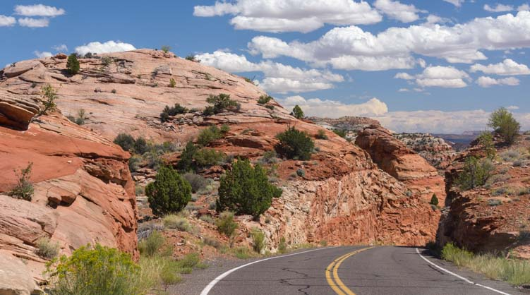 Red rocks on Scenic Byway 12 Utah RV trip
