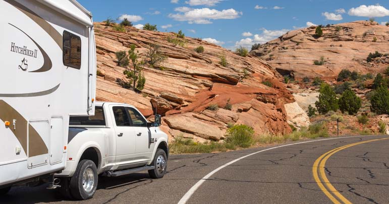 RVing Utah Scenic Byway 12 in the red rocks