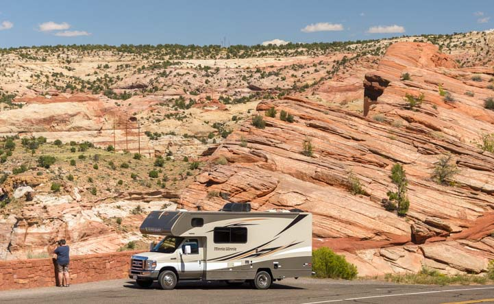 RV motorhome Utah Scenic Byway 12 red rocks