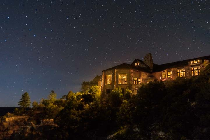 Stars over Lodge at North Rim of the Grand Canyon starry night and fifth wheel trailer RV