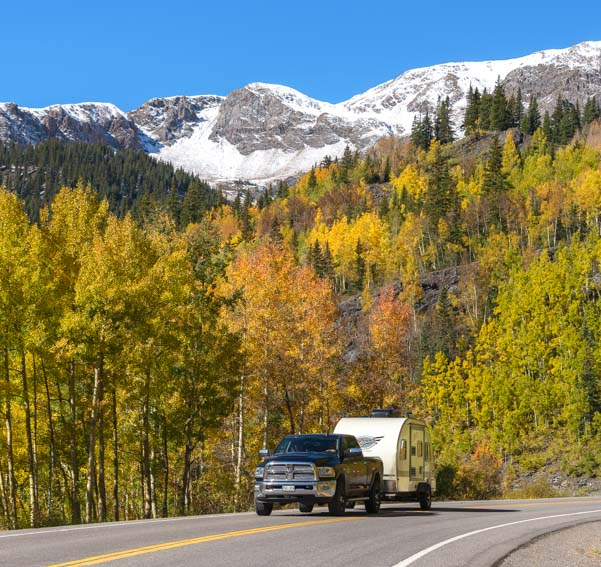 RV autumn leaves and snow San Juan Skyway Colorado Rocky Mountains