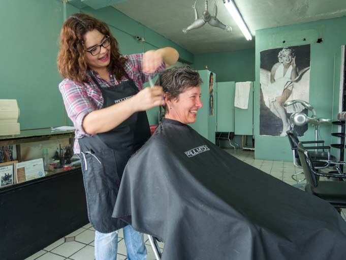 Getting a haircut in San Luis Rio Colorado Mexico