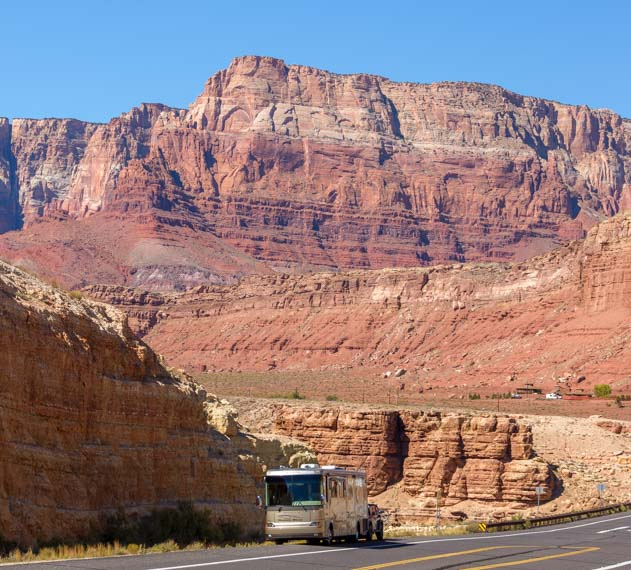 Motorhome RV in Vermillion Cliffs National Monument Arizona