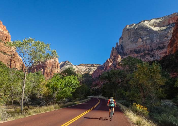 Bike Zion Canyon Scenic Drive Zion National Park Utah
