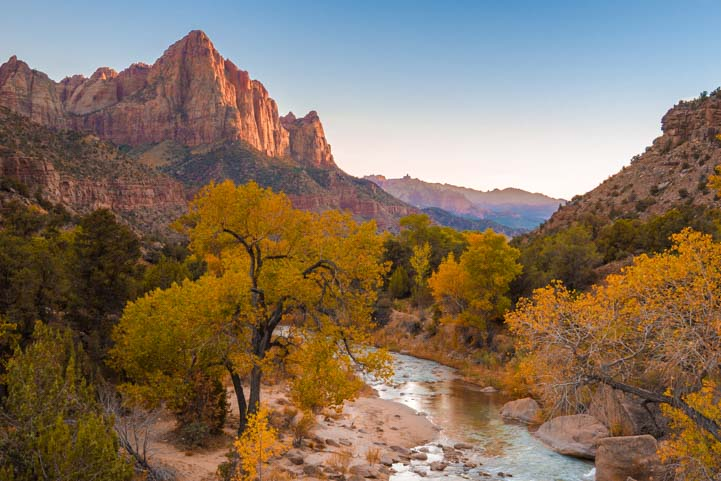 Fall color The Watchman Zion National Park Utah