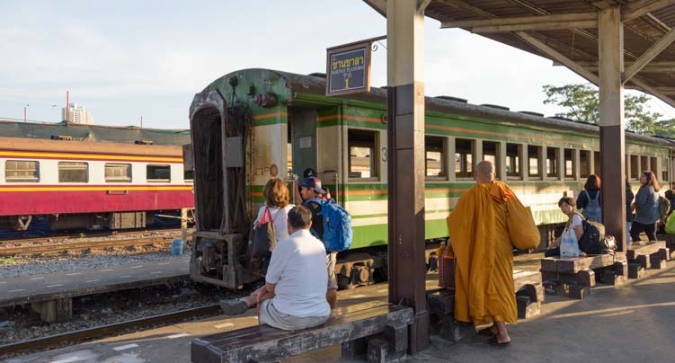 Train from Bangkok to Kanchanaburi Thailand
