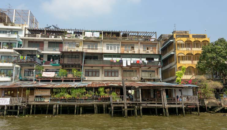 Houses on Chao Phraya River Bangkok Thailand