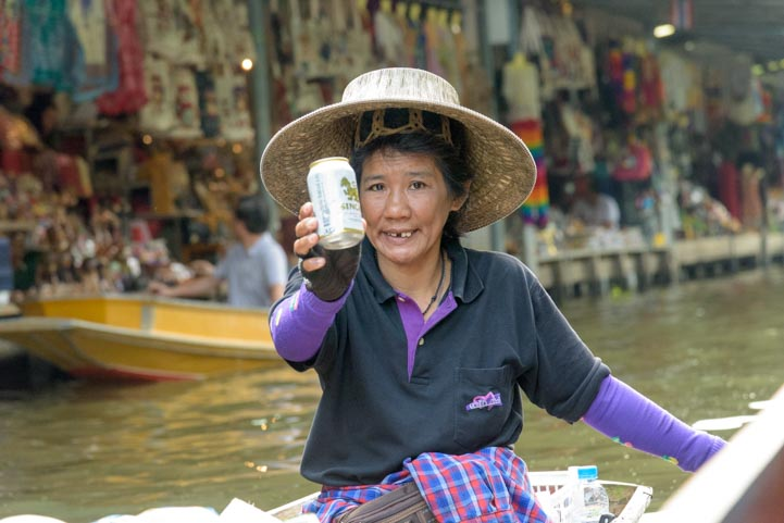 Beer for sale Damnoen Saduak Floating Market Bangkok Thailand