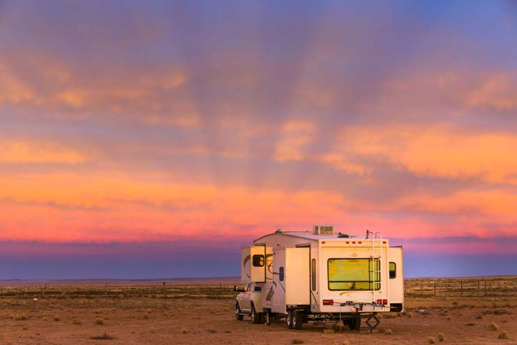 RV boondocking at sunset