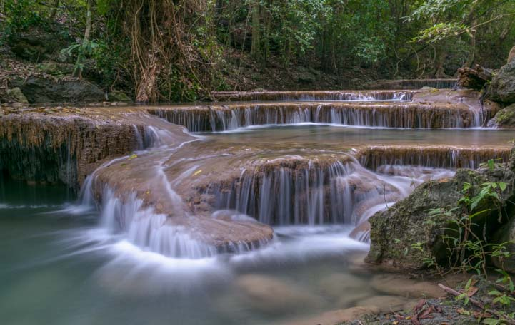 Prettiest Waterfall in Thailand Erawan Waterfall Kanchanaburi Thailand