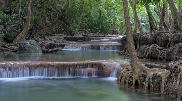 Most beautiful waterfall in Thailand Erawan Falls Erawan National Park Kanchanaburi_