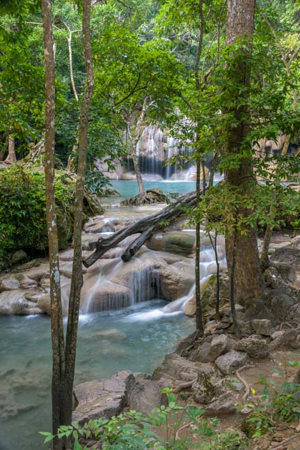 Most spectacular waterfall in Thailand Erawan Waterfall Erawan National Park Kanchanaburi Thailand