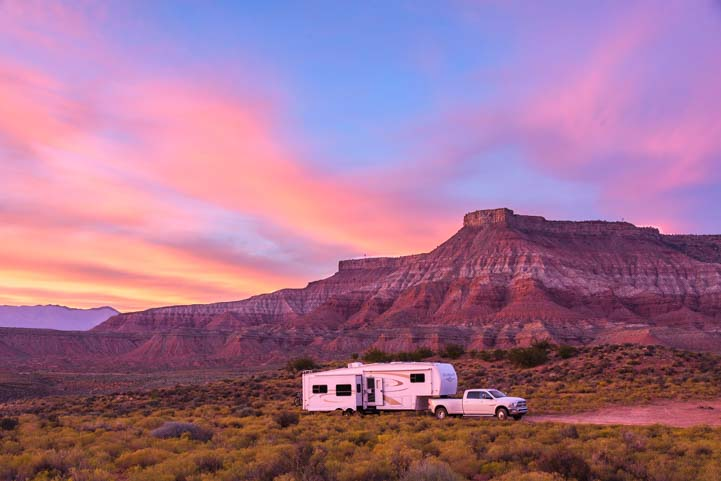 Red rock sunset RV boondocking or wild camping