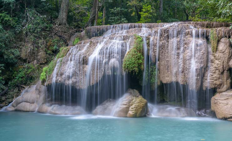 Top waterfall in Thailand Erawan National Park Kanchanaburi Thailand