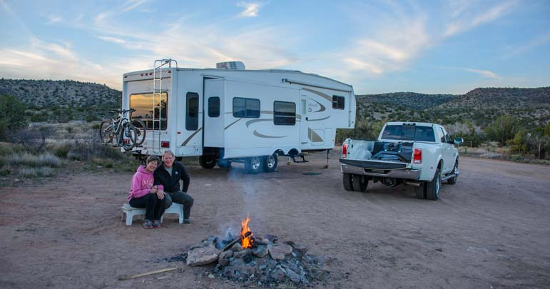 RV boondocking or wild camping with a campfire