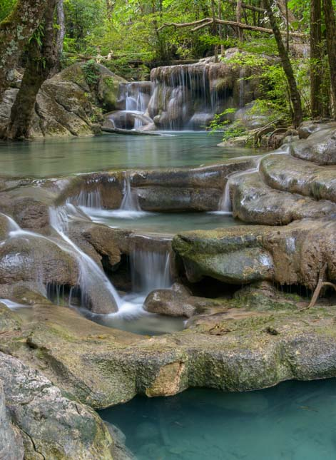 Cascade at Erawan Waterfall Erawan National Park Kanchanaburi Thailand