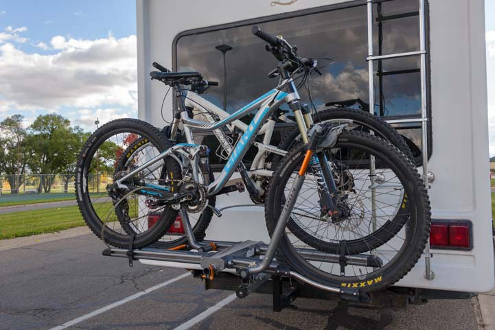 Kuat NV Bike Rack on back of fifth wheel trailer RV