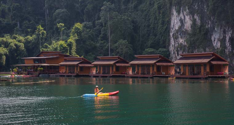 Kayak Cheow Lan Lake Khao Sok National Park Greenery Panvaree Floating Raft House