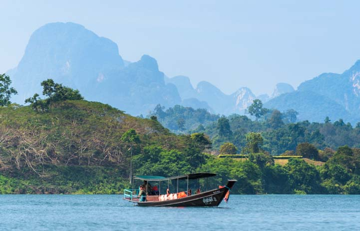 Longtail boat Khao Sok National Park Thailand Cheow Lan Lake Chiewlarn Lake