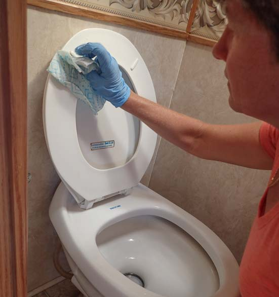 RV dump station tip woman cleans toilet and bathroom