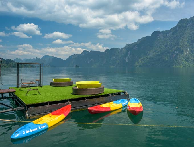 Kayaks at Greenery Panvaree Floating Raft House resort Cheow Lan Lake Khao Sok National Park Thailand Chiewlarn Lake