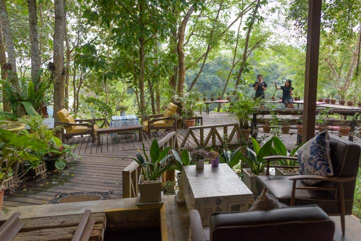 Outdoor seating at Rim Nam Cafe Kanchanaburi Thailand