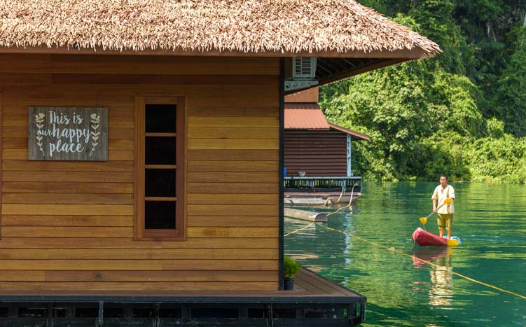 Kayaking Greenery Panvaree Floating Raft House Resort Cheow Lan Lake Chiewlarn Lake Khao Sok National Park Thailand