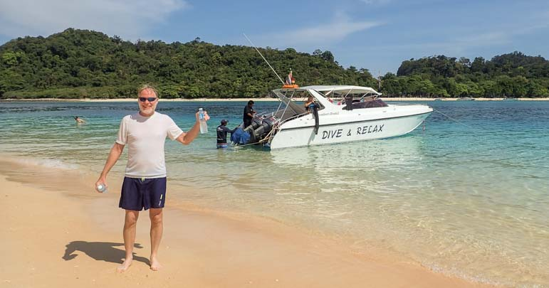 On the beach with Dive and Relax Snorkeling Tour Ko Rok in Ko Lanta Thailand