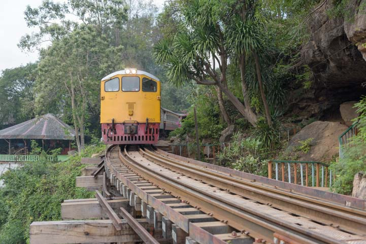 Train at bridge on the River Kwai Kanchanaburi Thailand