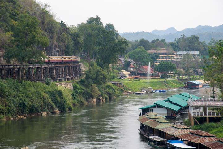 Train on bridge Death Railway Kanchanaburi Thailand