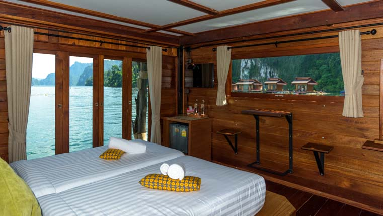 Greenery Zone room Greenery Panvaree Floating Raft House Resort Cheow Lan Lake Chiewlarn Lake Khao Sok National Park Thailand