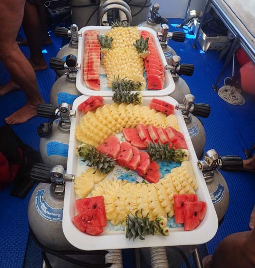Fruit snack aboard Dive and Relax snorkel tour boat Ko Lanta Thailand