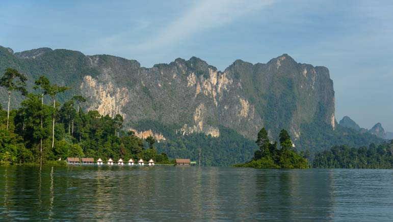 Raft houses Cheow Lan Lake Khao Sok National Park Thailand
