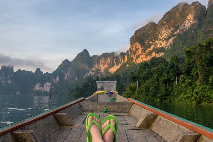 Longtail boat tour Cheow Lan Lake Khao Sok National Park Thailand