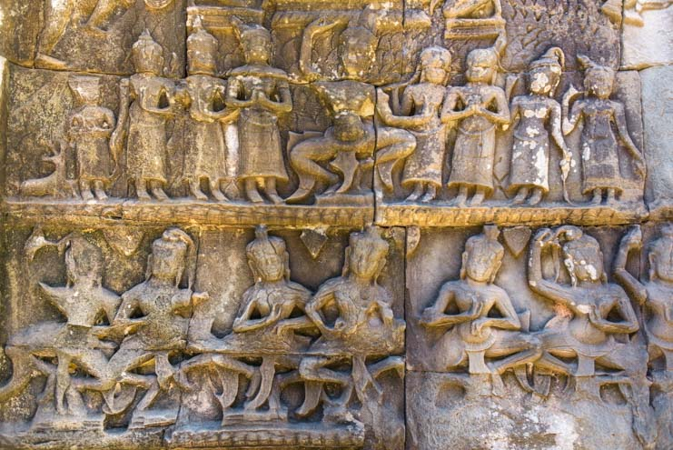 Dancers stone carvings Ta Prohm temple Siem Reap Angkor Cambodia