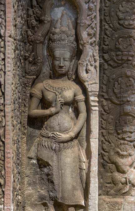 Stone carving Ta Prohm Angkor Siem Reap Cambodia