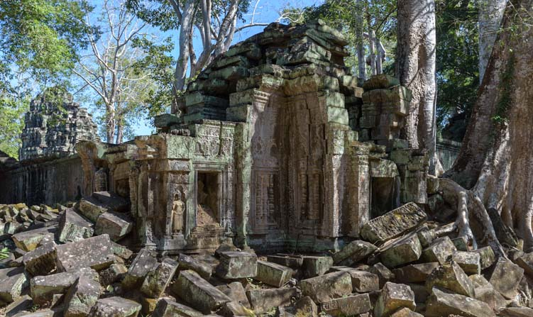 Rubble at Ta Prohm Temple Ruins Angkor Siem Reap Cambodia
