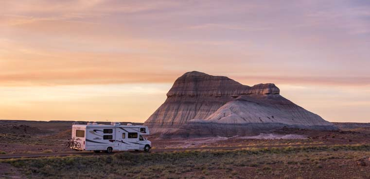 RV motorhome in Petrified Forest National Park Crystal Forest